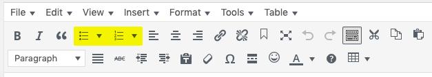 WordPress list buttons