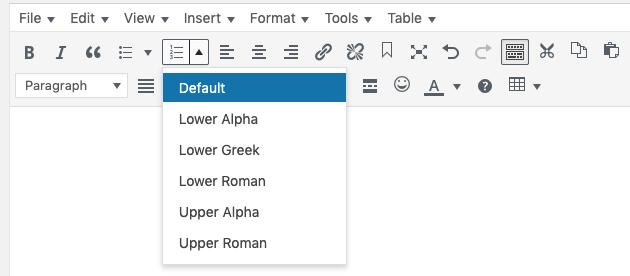 WordPress numbered list options